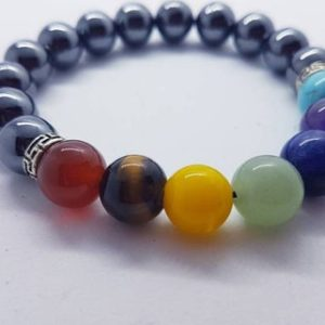 Shop Chakra Beads! Hematite and chakra beaded gemstone stretch bracelet | healing crystal | energy healing | metaphysical stones | Shop jewelry making and beading supplies, tools & findings for DIY jewelry making and crafts. #jewelrymaking #diyjewelry #jewelrycrafts #jewelrysupplies #beading #affiliate #ad