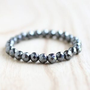 Shop Hematite Bracelets! Faceted Hematite Stretch Bracelet. Grounding and Protection. Dissolve Negativity. Enhance Confidence and Willpower. Peace, Harmony, Anemia. | Natural genuine Hematite bracelets. Buy crystal jewelry, handmade handcrafted artisan jewelry for women.  Unique handmade gift ideas. #jewelry #beadedbracelets #beadedjewelry #gift #shopping #handmadejewelry #fashion #style #product #bracelets #affiliate #ad