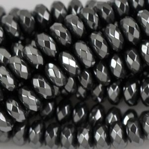 Shop Hematite Faceted Beads! Hematite Rondelle Faceted 4,6,8,10,12mm — 15.5 inch strand | Natural genuine faceted Hematite beads for beading and jewelry making.  #jewelry #beads #beadedjewelry #diyjewelry #jewelrymaking #beadstore #beading #affiliate #ad