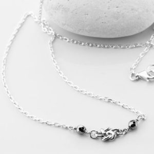 Shop Hematite Necklaces! Square Knot Silver Necklace, Silver Necklace, Delicate Silver Chain, Silver & Hematite, Silver Square Double Knot Center Piece | Natural genuine Hematite necklaces. Buy crystal jewelry, handmade handcrafted artisan jewelry for women.  Unique handmade gift ideas. #jewelry #beadednecklaces #beadedjewelry #gift #shopping #handmadejewelry #fashion #style #product #necklaces #affiliate #ad