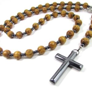 Shop Hematite Necklaces! Wood Beads Handmade Rosary,Men Necklace,Hematite Cross,Mens Rosary,Women Rosary,Mens Rosary Necklace,Wood Rosary Necklace,Cross Necklace | Natural genuine Hematite necklaces. Buy handcrafted artisan men's jewelry, gifts for men.  Unique handmade mens fashion accessories. #jewelry #beadednecklaces #beadedjewelry #shopping #gift #handmadejewelry #necklaces #affiliate #ad