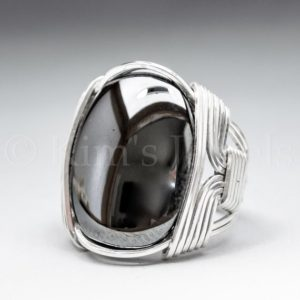 Shop Hematite Rings! Hematite Gemstone 18x25mm Cabochon Sterling Silver Wire Wrapped Ring -optional Oxidation / antiquing – Made To Order And Ships Fast! | Natural genuine Hematite rings, simple unique handcrafted gemstone rings. #rings #jewelry #shopping #gift #handmade #fashion #style #affiliate #ad