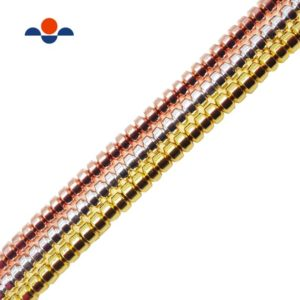 "Shop Hematite Rondelle Beads! Titanium Gold/Silver/Rose Gold Hematite Rondelle Beads 2x3mm 15.5"" Strand 
