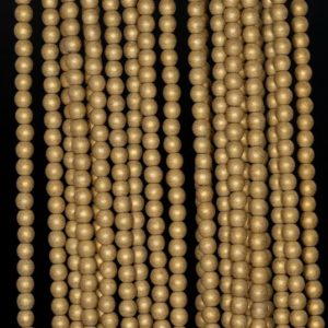 Shop Hematite Round Beads! 3mm Matte Gold Hematite Gemstone Frosted Gold Round Loose Beads 15.5 inch Full Strand (90182684-397) | Natural genuine round Hematite beads for beading and jewelry making.  #jewelry #beads #beadedjewelry #diyjewelry #jewelrymaking #beadstore #beading #affiliate #ad