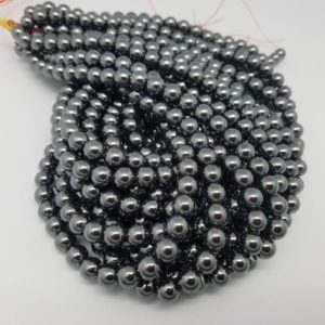 Shop Hematite Round Beads! 4mm or 6mm or 8mm Hematite Polished Round Beads, 15.5 inch | Natural genuine round Hematite beads for beading and jewelry making.  #jewelry #beads #beadedjewelry #diyjewelry #jewelrymaking #beadstore #beading #affiliate #ad
