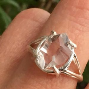 Shop Herkimer Diamond Rings! Herkimer Diamond Ring A+ GRADE NY Double Terminated Quartz Crystal Silver Ring-Herkimer Diamond Jewelry – Herkimer Jewelry – Size 7 | Natural genuine Herkimer Diamond rings, simple unique handcrafted gemstone rings. #rings #jewelry #shopping #gift #handmade #fashion #style #affiliate #ad