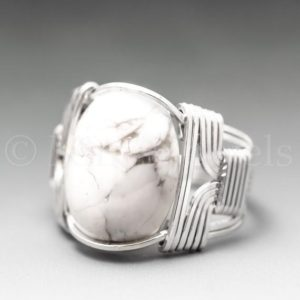 Shop Howlite Rings! White Howlite Sterling Silver Wire Wrapped Gemstone Cabochon Ring – Optional Oxidation/Antiquing – Made to Order, Ships Fast! | Natural genuine Howlite rings, simple unique handcrafted gemstone rings. #rings #jewelry #shopping #gift #handmade #fashion #style #affiliate #ad