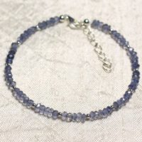 Bracelet 925 Sterling Silver And Stone – Iolite Blue Clear Faceted Rondelle 3mm | Natural genuine Gemstone jewelry. Buy crystal jewelry, handmade handcrafted artisan jewelry for women.  Unique handmade gift ideas. #jewelry #beadedjewelry #beadedjewelry #gift #shopping #handmadejewelry #fashion #style #product #jewelry #affiliate #ad