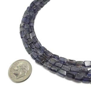 "Iolite Irregular Flat Rectangle Slice Tube Beads Size Approx 4-5mm 15.5"" Strand 