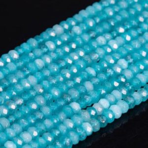 Shop Jade Faceted Beads! Natural Aqua Green Blue Jade Loose Beads Faceted Rondelle Shape 4x2mm | Natural genuine faceted Jade beads for beading and jewelry making.  #jewelry #beads #beadedjewelry #diyjewelry #jewelrymaking #beadstore #beading #affiliate #ad