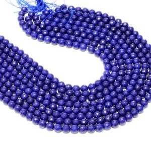 """Shop Jade Necklaces! CLEARANCE SALE – fashion necklace blue jade beads,faceted beads,semiprecious round beads,unique beads,gemstone beads – 16"""" Full Strand 