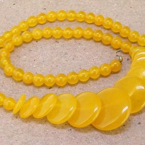 "Shop Jade Bead Shapes! Full Strand Coin  Yellow Jade Beads —– 6mm-20mm —– about 60Pieces —– gemstone beads— 15"" in length 