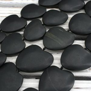 Shop Jade Bead Shapes! Matte Black Jade heart shape beads 26-34mm (ETB00557) Unique jewelry/Vintage jewelry/Gemstone necklace | Natural genuine other-shape Jade beads for beading and jewelry making.  #jewelry #beads #beadedjewelry #diyjewelry #jewelrymaking #beadstore #beading #affiliate #ad