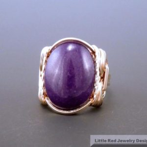 14 K Gold Filled Purple Jade Cabochon Wire Wrapped Ring | Natural genuine Gemstone rings, simple unique handcrafted gemstone rings. #rings #jewelry #shopping #gift #handmade #fashion #style #affiliate #ad