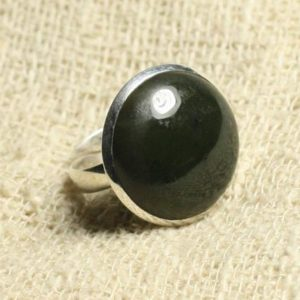 Shop Jade Rings! Ring 925 sterling silver and stone – 20mm round Jade Nephrite size adjustable   Natural genuine Jade rings, simple unique handcrafted gemstone rings. #rings #jewelry #shopping #gift #handmade #fashion #style #affiliate #ad