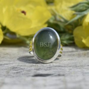 Shop Jade Rings! Fantastic Nephrite Jade Ring, 925 Sterling Silver, Oval Shape, Green Color Stone, Triple Band Ring, Bezel Set, Handmade Silver Ring, Sale | Natural genuine Jade rings, simple unique handcrafted gemstone rings. #rings #jewelry #shopping #gift #handmade #fashion #style #affiliate #ad
