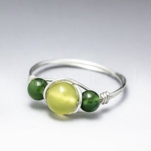 Shop Jade Rings! Korean Jade & Canadian Jade Sterling Silver Wire Wrapped Gemstone BEAD Ring – Made to Order, Ships Fast!   Natural genuine Jade rings, simple unique handcrafted gemstone rings. #rings #jewelry #shopping #gift #handmade #fashion #style #affiliate #ad