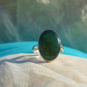Shop Jade Rings! Nephrite Jade Ring, 925 Sterling Silver, Oval Shape, Green Color Stone, Silver Band Ring, Handmade Ring, Can Be Personalized, Sale | Natural genuine Jade rings, simple unique handcrafted gemstone rings. #rings #jewelry #shopping #gift #handmade #fashion #style #affiliate #ad
