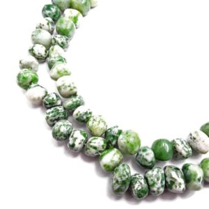 "Shop Jasper Chip & Nugget Beads! Green Spot Jasper Irregular Pebble Nugget Beads Approx 5-18mm 15.5"" Strand 