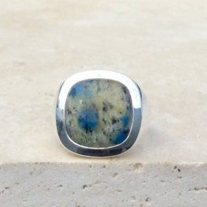 Shop Jasper Rings! Mens Silver Ring with Stone, K2 Jasper Silver Ring, Large Gemstone Silver Ring, Gift for Dad or Husband | Natural genuine Jasper mens fashion rings, simple unique handcrafted gemstone men's rings, gifts for men. Anillos hombre. #rings #jewelry #crystaljewelry #gemstonejewelry #handmadejewelry #affiliate #ad