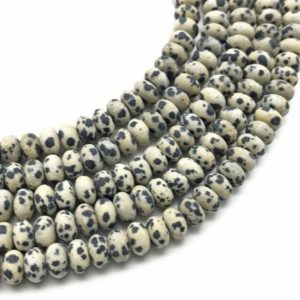 Shop Jasper Rondelle Beads! 8x5mm Matte Dalmation Jasper Rondelle Beads, Rondelle Stone Beads, Gemstone Beads | Natural genuine rondelle Jasper beads for beading and jewelry making.  #jewelry #beads #beadedjewelry #diyjewelry #jewelrymaking #beadstore #beading #affiliate #ad