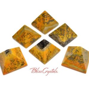 Shop Jasper Shapes! 1 BUMBLEBEE JASPER Pyramid Yellow Orange Black Spotted #BJ56 | Natural genuine stones & crystals in various shapes & sizes. Buy raw cut, tumbled, or polished gemstones for making jewelry or crystal healing energy vibration raising reiki stones. #crystals #gemstones #crystalhealing #crystalsandgemstones #energyhealing #affiliate #ad