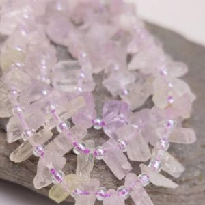 Shop Kunzite Beads! Rare pretty Natural Crystal Kunzite Beads. Kunzite Wands. Kunzite chunks freeform. Choose Quantity | Natural genuine chip Kunzite beads for beading and jewelry making.  #jewelry #beads #beadedjewelry #diyjewelry #jewelrymaking #beadstore #beading #affiliate #ad