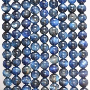 6mm Blue Kyanite Gemstone Dark Blue Grade A Round Loose Beads 15 inch Full Strand (90188736-89) | Natural genuine round Kyanite beads for beading and jewelry making.  #jewelry #beads #beadedjewelry #diyjewelry #jewelrymaking #beadstore #beading #affiliate #ad