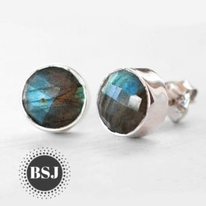 Handmade Labradorite Stud Earrings, Round Studs, Faceted Gemstone, 925 Sterling Silver, Bridesmaid Stud, Can Be Personalized, Made For Her | Natural genuine Gemstone earrings. Buy crystal jewelry, handmade handcrafted artisan jewelry for women.  Unique handmade gift ideas. #jewelry #beadedearrings #beadedjewelry #gift #shopping #handmadejewelry #fashion #style #product #earrings #affiliate #ad