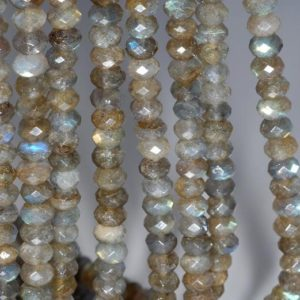 Shop Labradorite Faceted Beads! 7×4.5mm Labradorite Gemstone Blue Grade A Fine Faceted Cut Rondelle Loose Beads 7.5 inch Half Strand (80001639-790) | Natural genuine faceted Labradorite beads for beading and jewelry making.  #jewelry #beads #beadedjewelry #diyjewelry #jewelrymaking #beadstore #beading #affiliate #ad
