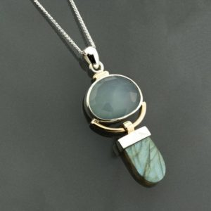 Shop Labradorite Pendants! Chalcedony pendant, aqua blue stone pendant, seafoam blue and labradorite pendant, Silver and gold blue stones pendant, labradorite pendant | Natural genuine Labradorite pendants. Buy crystal jewelry, handmade handcrafted artisan jewelry for women.  Unique handmade gift ideas. #jewelry #beadedpendants #beadedjewelry #gift #shopping #handmadejewelry #fashion #style #product #pendants #affiliate #ad