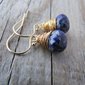 Shop Lapis Lazuli Earrings! Lapis Earrings, small, gold, wire wrapped, faceted lapis dangle earrings | Natural genuine Lapis Lazuli earrings. Buy crystal jewelry, handmade handcrafted artisan jewelry for women.  Unique handmade gift ideas. #jewelry #beadedearrings #beadedjewelry #gift #shopping #handmadejewelry #fashion #style #product #earrings #affiliate #ad