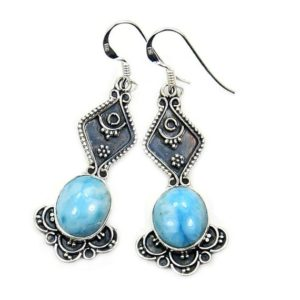 Shop Larimar Earrings! Vintage Style Larimar Earrings & Sterling Silver The Silver Plaza Y539 | Natural genuine Larimar earrings. Buy crystal jewelry, handmade handcrafted artisan jewelry for women.  Unique handmade gift ideas. #jewelry #beadedearrings #beadedjewelry #gift #shopping #handmadejewelry #fashion #style #product #earrings #affiliate #ad