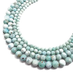 "Shop Larimar Faceted Beads! High Quality Natural Larimar Faceted Round Beads 5mm 6mm 7mm 8mm 15.5"" Strand 