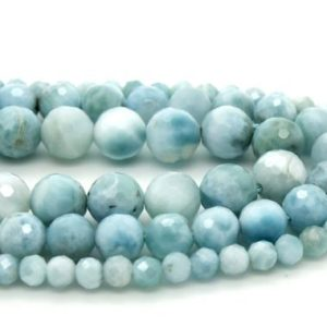 Shop Larimar Faceted Beads! Natural Larimar, High Quality Genuine Larimar Natural Gemstone Faceted Round Sphere Stone Gemstone Beads | Natural genuine faceted Larimar beads for beading and jewelry making.  #jewelry #beads #beadedjewelry #diyjewelry #jewelrymaking #beadstore #beading #affiliate #ad
