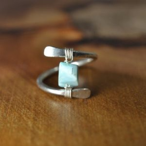 Shop Larimar Rings! Larimar Ring in Sterling Silver, 14k Gold Fill // Healing Crystal Ring // Bohochic Ring // Wire Wrapped Gemstone Ring // Natural Larimar | Natural genuine Larimar rings, simple unique handcrafted gemstone rings. #rings #jewelry #shopping #gift #handmade #fashion #style #affiliate #ad