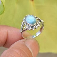 Natural Larimar Ring, 925 Silver Rings, Oxidized Ring, Women Rings, 7×9 Mm Oval Larimar Ring, Larimar Ring, Gemstone Ring, Blue Healing Ring | Natural genuine Gemstone jewelry. Buy crystal jewelry, handmade handcrafted artisan jewelry for women.  Unique handmade gift ideas. #jewelry #beadedjewelry #beadedjewelry #gift #shopping #handmadejewelry #fashion #style #product #jewelry #affiliate #ad