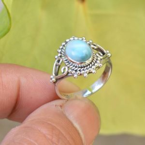 Shop Larimar Rings! Natural Larimar Ring, 925 Silver Rings, Oxidized Ring, Women Rings, Everyday Ring, Larimar Ring,Gemstone Ring, Blue Healing Ring, Women Ring | Natural genuine Larimar rings, simple unique handcrafted gemstone rings. #rings #jewelry #shopping #gift #handmade #fashion #style #affiliate #ad