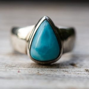 Shop Larimar Rings! Larimar Ring Size 7 – Larimar Ring –  Larimar ring – Blue Pectolite Ring – Genuine Larimar Size 7 Larimar Ring  – Larimar Jewelry – Larimar   Natural genuine Larimar rings, simple unique handcrafted gemstone rings. #rings #jewelry #shopping #gift #handmade #fashion #style #affiliate #ad