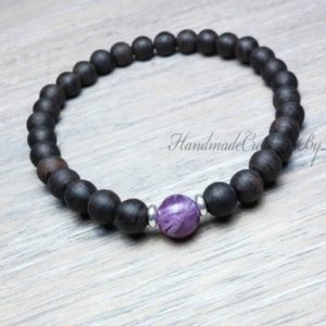Shop Lepidolite Bracelets! Sandalwood Bracelet, Lepidolite Gemstone Bracelet, Wrist Mala, Mens Chakra Bracelet, Womens Healing Bracelet | Natural genuine Lepidolite bracelets. Buy handcrafted artisan men's jewelry, gifts for men.  Unique handmade mens fashion accessories. #jewelry #beadedbracelets #beadedjewelry #shopping #gift #handmadejewelry #bracelets #affiliate #ad