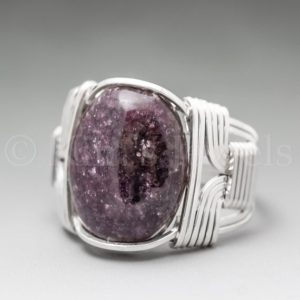Shop Lepidolite Rings! Dark Lepidolite Sterling Silver Wire Wrapped Gemstone Cabochon Ring – Optional Oxidation/Antiquing – Made to Order, Ships Fast! | Natural genuine Lepidolite rings, simple unique handcrafted gemstone rings. #rings #jewelry #shopping #gift #handmade #fashion #style #affiliate #ad