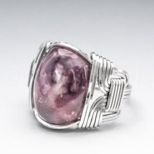 Shop Lepidolite Rings! Lepidolite & Rubellite Sterling Silver Wire Wrapped Gemstone Cabochon Ring – Optional Oxidation/Antiquing – Made to Order, Ships Fast! | Natural genuine Lepidolite rings, simple unique handcrafted gemstone rings. #rings #jewelry #shopping #gift #handmade #fashion #style #affiliate #ad