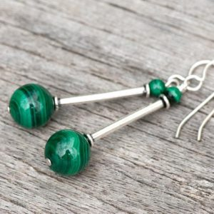 Shop Malachite Earrings! Green Malachite Earrings, Long 925 Sterling Silver Earrings, Green Natural Stone Earrings, Slender Striped Green Earrings, Protection Stone | Natural genuine Malachite earrings. Buy crystal jewelry, handmade handcrafted artisan jewelry for women.  Unique handmade gift ideas. #jewelry #beadedearrings #beadedjewelry #gift #shopping #handmadejewelry #fashion #style #product #earrings #affiliate #ad