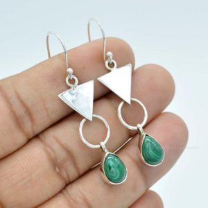 Shop Malachite Earrings! Natural Malachite Earrings, 925 Silver Earrings, 7×10 Mm Pear Malachite Earrings, Gemstone Earrings, Green Malachite Earrings, Gift For Her | Natural genuine Malachite earrings. Buy crystal jewelry, handmade handcrafted artisan jewelry for women.  Unique handmade gift ideas. #jewelry #beadedearrings #beadedjewelry #gift #shopping #handmadejewelry #fashion #style #product #earrings #affiliate #ad