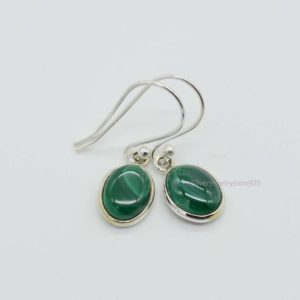 Shop Malachite Earrings! Natural Green Malachite Earrings, 925 Silver Earrings, 7x9mm Oval Green Malachite Earrings, Gift For Her, Malachite Earrings, Women Earrings | Natural genuine Malachite earrings. Buy crystal jewelry, handmade handcrafted artisan jewelry for women.  Unique handmade gift ideas. #jewelry #beadedearrings #beadedjewelry #gift #shopping #handmadejewelry #fashion #style #product #earrings #affiliate #ad