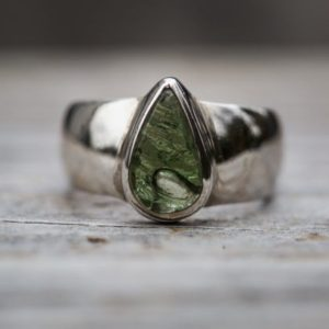 Shop Moldavite Rings! Moldavite Ring 8 – Silver and Moldavite half raw half Smooth Ring size 8 – Moldavite Ring size 8 – Buff Top Moldavite Ring  Moldavite 8 Ring   Natural genuine Moldavite rings, simple unique handcrafted gemstone rings. #rings #jewelry #shopping #gift #handmade #fashion #style #affiliate #ad