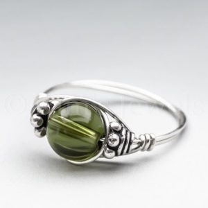 Czech Republic Green Moldavite, Tektite, Meteorite Bali Sterling Silver Wire Wrapped Gemstone BEAD Ring – Made to Order, Ships Fast! | Natural genuine Gemstone jewelry. Buy crystal jewelry, handmade handcrafted artisan jewelry for women.  Unique handmade gift ideas. #jewelry #beadedjewelry #beadedjewelry #gift #shopping #handmadejewelry #fashion #style #product #jewelry #affiliate #ad