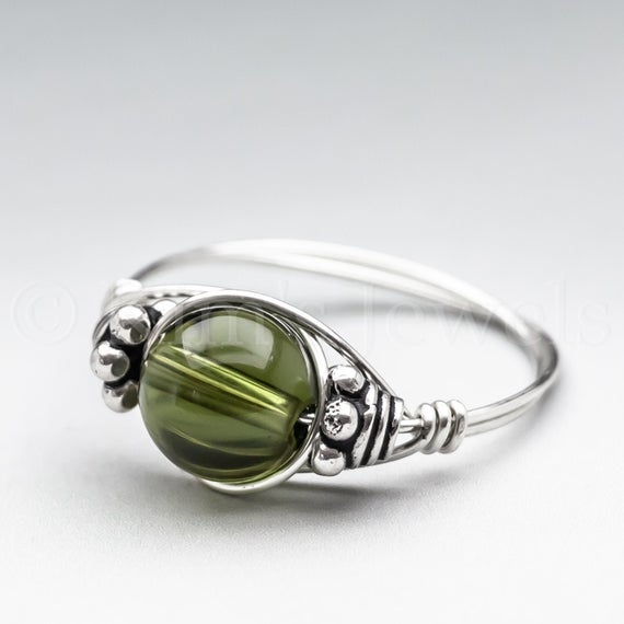 Czech Republic Green Moldavite, Tektite, Meteorite Bali Sterling Silver Wire Wrapped Gemstone Bead Ring - Made To Order, Ships Fast!