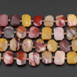 """Shop Mookaite Jasper Faceted Beads! Natural Australian Mookaite Beads Faceted Rectangle Cushion Octagon Natural Sunset Color Red Yellow Maroon Red Creamy Beige 15.5"""" Strand 