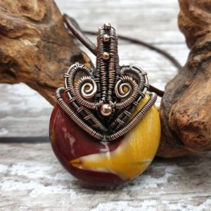 Shop Mookaite Pendants! Mookaite Jasper Copper Necklace, Wire Wrapped Jewellery, Gemstone Doughnut Pendant, Natural Stone Jewellery, Spinner Pendant | Natural genuine Mookaite pendants. Buy crystal jewelry, handmade handcrafted artisan jewelry for women.  Unique handmade gift ideas. #jewelry #beadedpendants #beadedjewelry #gift #shopping #handmadejewelry #fashion #style #product #pendants #affiliate #ad
